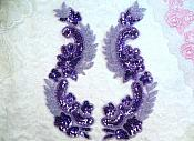 "Lavender Metallic Sequin Dance Appliques w/ Beads Mirror Pair Sewing Motifs 8"" (0180X)"