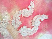 "White Sequin Bridal Appliques w/ Ivory Beads Mirror Pair Motifs 8"" (0180X)"