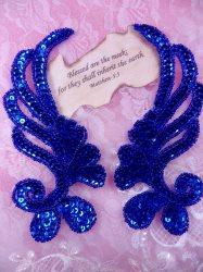 """0182 Blue Mirror Pair Sequin Beaded Appliques 6"""""""