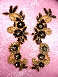 0183 Burgundy Brown Gold Mirror Pair Sequin Beaded Appliques