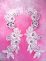 "0183 Silver Accented Aurora Borealis Crystal AB Mirror Pair Sequin Beaded Appliques Floral Vine 10"""