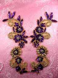 """0183 Purple and Gold Mirror Pair Sequin Beaded Appliques 10"""""""