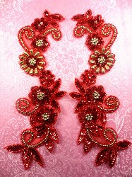 """0183 Appliques Sequin Beaded Red Gold Mirror Pair  10"""""""