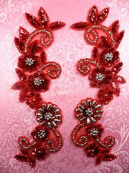 """0183 Sequin Appliques Red Floral Beaded Silver Mirror Pair Dance Patch 10"""""""
