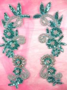 "0183 Appliques Mirror Pair Sequin Beaded Aqua Silver 10"""