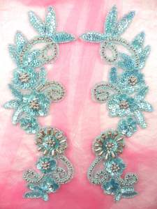 0183 Appliques Mirror Pair Sequin Beaded Misty Blue Holographic Silver 10""