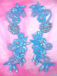 0183 Appliques Mirror Pair Sequin Beaded Turquoise AB Silver 10""