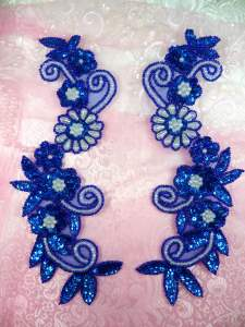 "0183 Sequin Appliques Blue Holographic Floral Beaded Aurora Borealis Mirror Pair Dance Patch 10"""