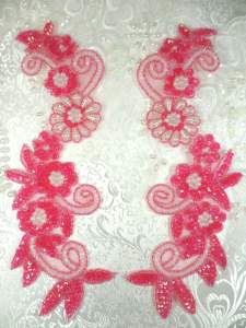 "0183 Sequin Appliques Fuchsia Floral Beaded Aurora Borealis Mirror Pair Dance Patch 10"""