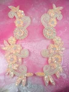 "0183 Sequin Appliques Peach Floral Beaded Aurora Borealis Mirror Pair Dance Patch 10"""