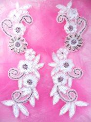 "0183 White Sequin Mirror Pair Silver Beaded Floral Vine Appliques Motifs 10"""