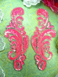 0207 Neon Hot Pink AB Mirror Pair Sequin Silver Beaded Appliques