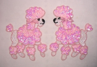 0226 Pink Poodle Pair Beaded Sequin Appliques