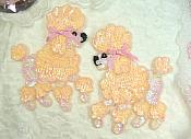 Peach Poodle Dog Appliques Mirror Pair Sequin w/ Beads (0226X)