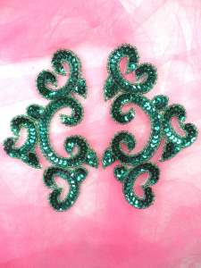 0242 Appliques Mirror Pair Teal Sequin Beaded  6""