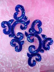 """0242 Blue Mirror Pair Sequin Beaded Appliques 6"""""""