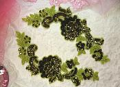 "Sequin Appliques Olive Lime Green Beaded Rose Floral Mirror Pair 9.5"" (0280X)"