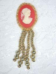 "0340  Gold / Orange Victorian Cameo Dangle Sequin Applique 3.25"""