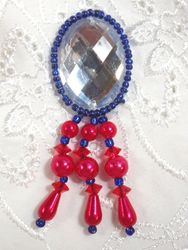 0341 REDUCED Patriotic Jewel Dangle Beaded Applique 3""