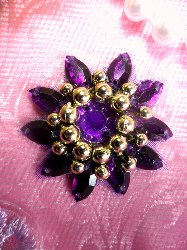 "0342 Applique Purple Jewel Gold Beaded 1.5"""