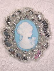 "0347  Silver  / Blue Victorian Cameo Sequin Beaded Applique Brooch 2"""