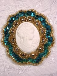 0347  Turquoise Gold / Ivory Victorian Cameo Sequin Beaded Applique Brooch  2""