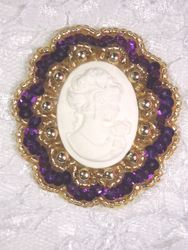 0347  Purple Gold / Ivory Victorian Cameo Sequin Beaded Applique Brooch  2""