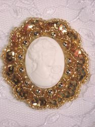 0347  Gold / Ivory Victorian Cameo Sequin Beaded Applique Brooch 2""