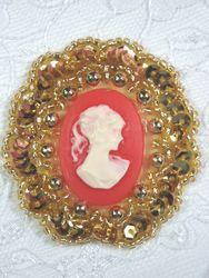 "0347  Gold / Orange Victorian Cameo Sequin Beaded Applique Brooch 2"""