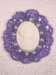 0347  Lavender / Ivory Victorian Cameo Sequin Beaded Applique Brooch  2""