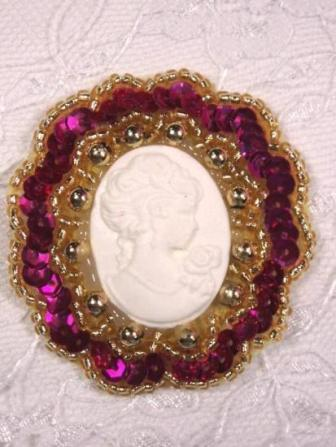 0347  Fuchsia Gold / Ivory Victorian Cameo Sequin Beaded Applique Brooch  2""