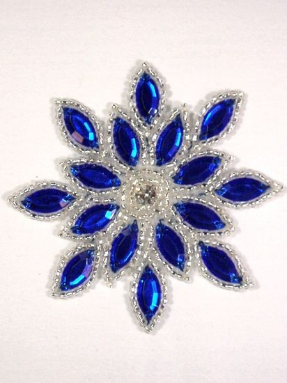 XR32 Blue Silver Snowflake Jewel Beaded  Applique 3""