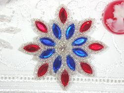 XR32  Patriotic Snowflake Jewel Beaded Applique 3""