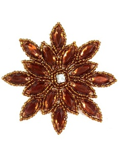 XR32 Bronze Snowflake Jewel Beaded  Applique 3""