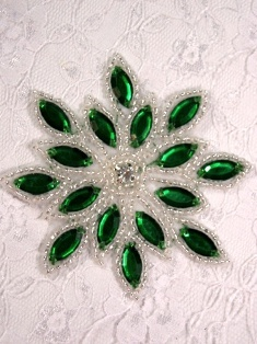 0348 Green Silver Snowflake Jewel Beaded Hair Bow / Brooch / Applique 3""