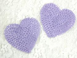 0360  Set of 2 Lavender Heart  Sequin Appliques 2-1/8""