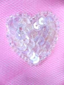 "0362 Crystal AB Heart Beaded Sequin Applique 1"""