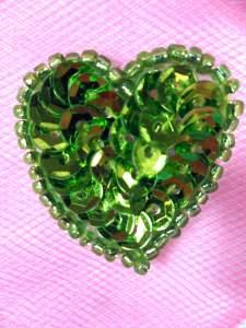 "0362 Metallic Lime Green Heart Beaded Sequin Applique 1"""