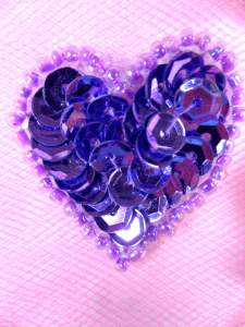 0362 Metallic Lavender Heart Beaded Sequin Applique 1""
