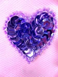 """0362 Metallic Lavender Heart Beaded Sequin Applique 1"""""""