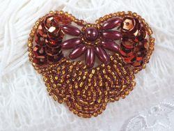 """0368 Bronze Heart Sequin Beaded Applique 2"""""""