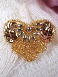 "0368 Gold Heart Sequin Beaded Applique 2"""