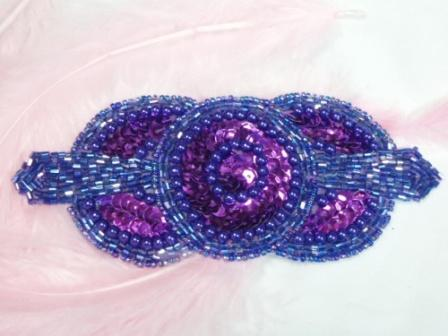 0369 PurpleTriple Circle Sequin Beaded Applique