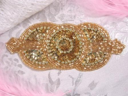 0369 Gold Triple Circle Sequin Beaded Applique