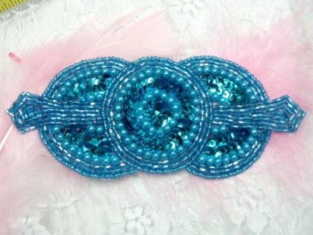 0369 Turquoise Triple Circle Sequin Beaded Applique