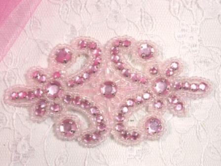 0373  Pink Jewel Beaded Rhinestone Applique 4&quot;