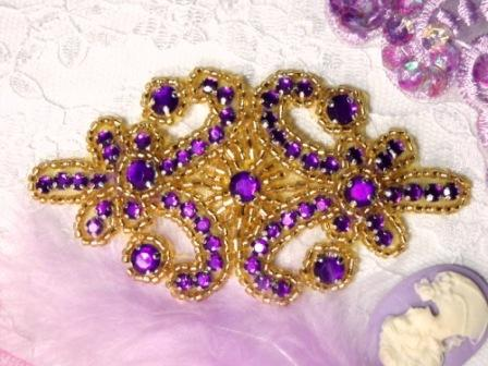 0373  Purple Jewel Gold Beaded Applique 4&quot;