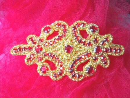 0373  Red Jewel Gold Beaded Applique 4&quot;
