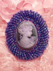 0383  Purple AB Victorian Cameo Beaded Applique 2""