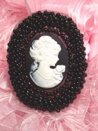 JB244 Cameo Applique Beaded Black White Victorian Iron on Patch  2""